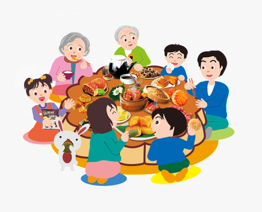 Hand Painted Flat Cartoon Family Reunion Png.