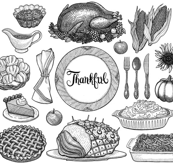 Thanksgiving Dinner Clipart. Instant Download. Lithographic.