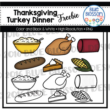 Thanksgiving Dinner Clipart Freebie.