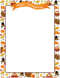 A page border for Thanksgiving with a turkey cartoon, Pilgrim hat.
