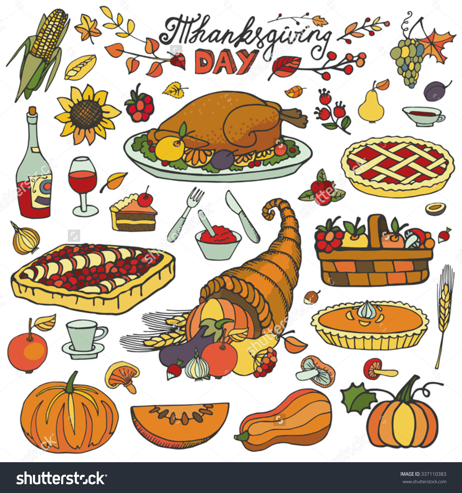 Thanksgiving Day Iconsdoodle Food Setautumn Harvest Stock Vector.