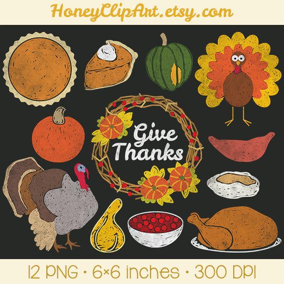 Digital Chalkboard Thanksgiving Clipart with Turkey Gourd.