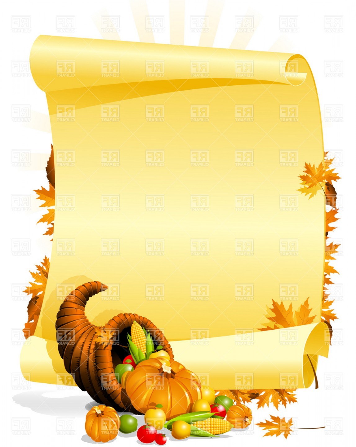 Blank Thanksgiving Invitation With Cornucopia And Vegetables.