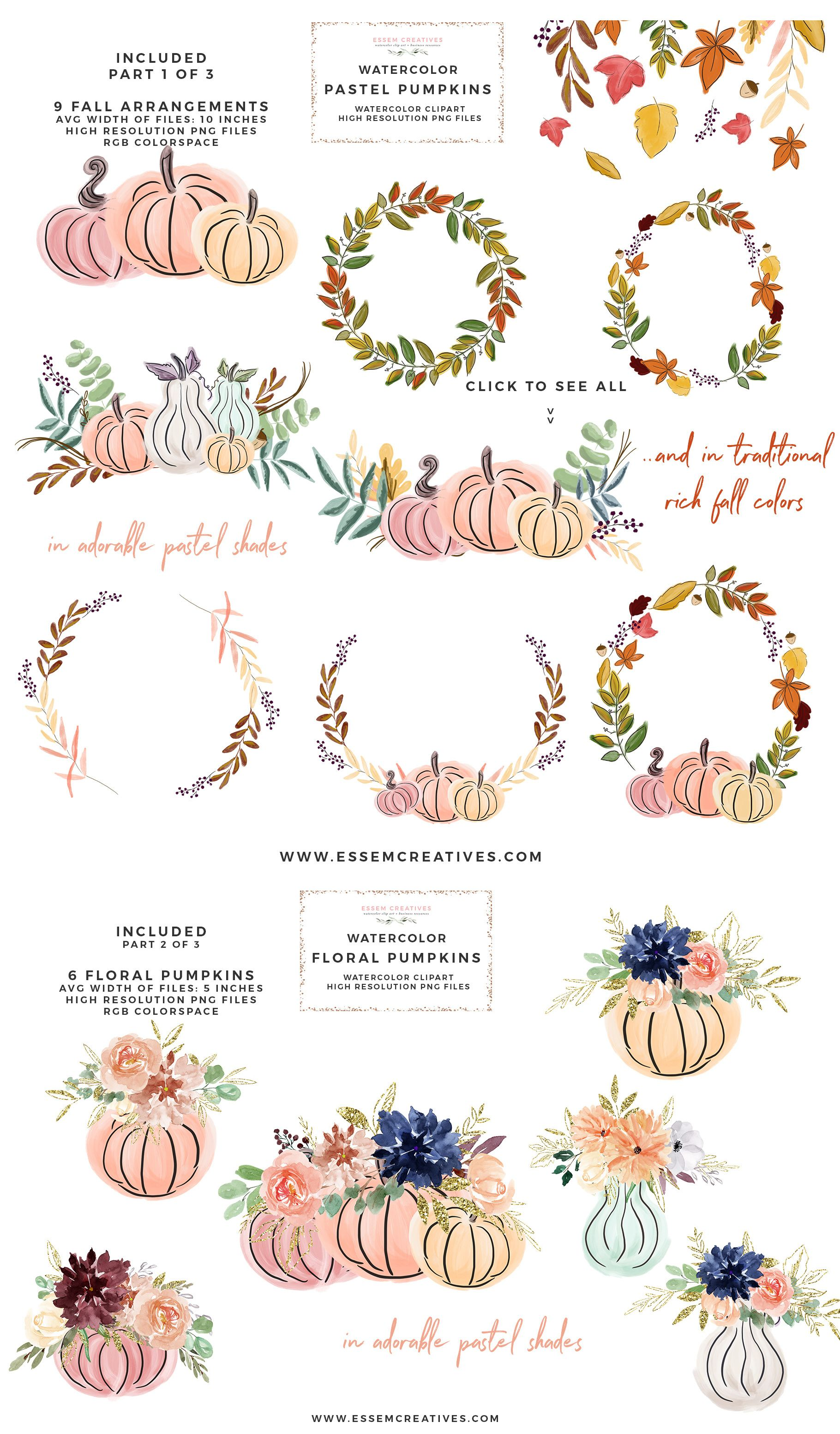 Fall Pumpkin Clipart, Autumn Wreath, Fall Clipart, Autumn.