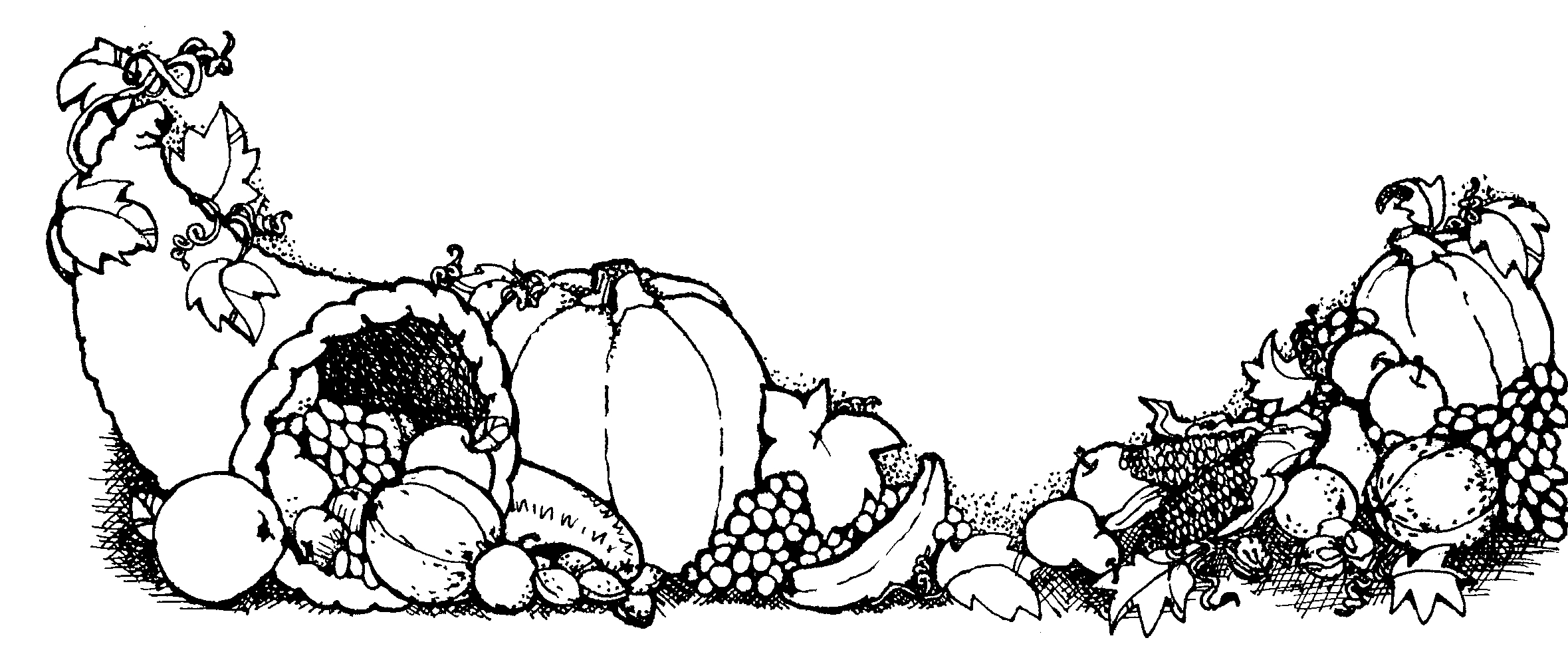 Thanksgiving dinner table black and white clipart.