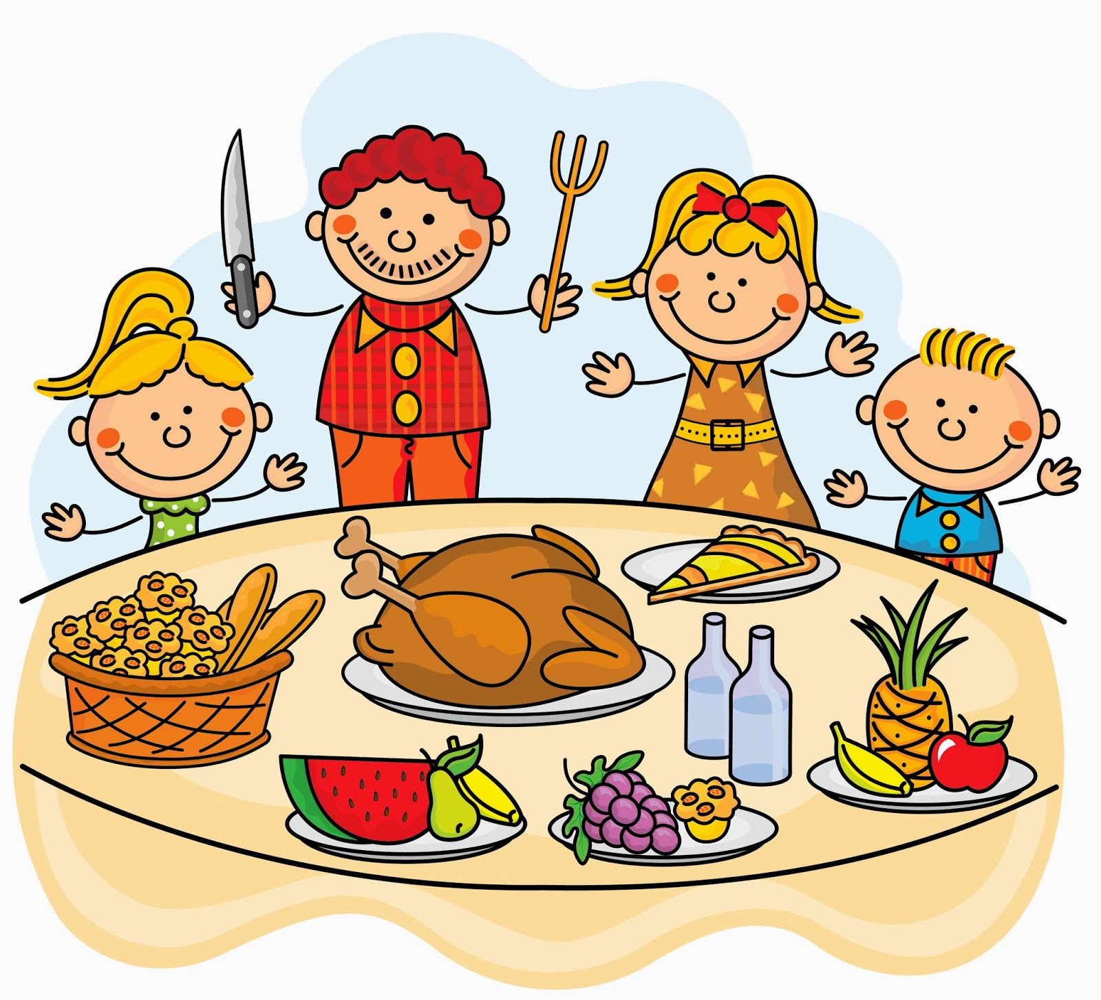 Family at thanksgiving dinner clipart clipartxtras.