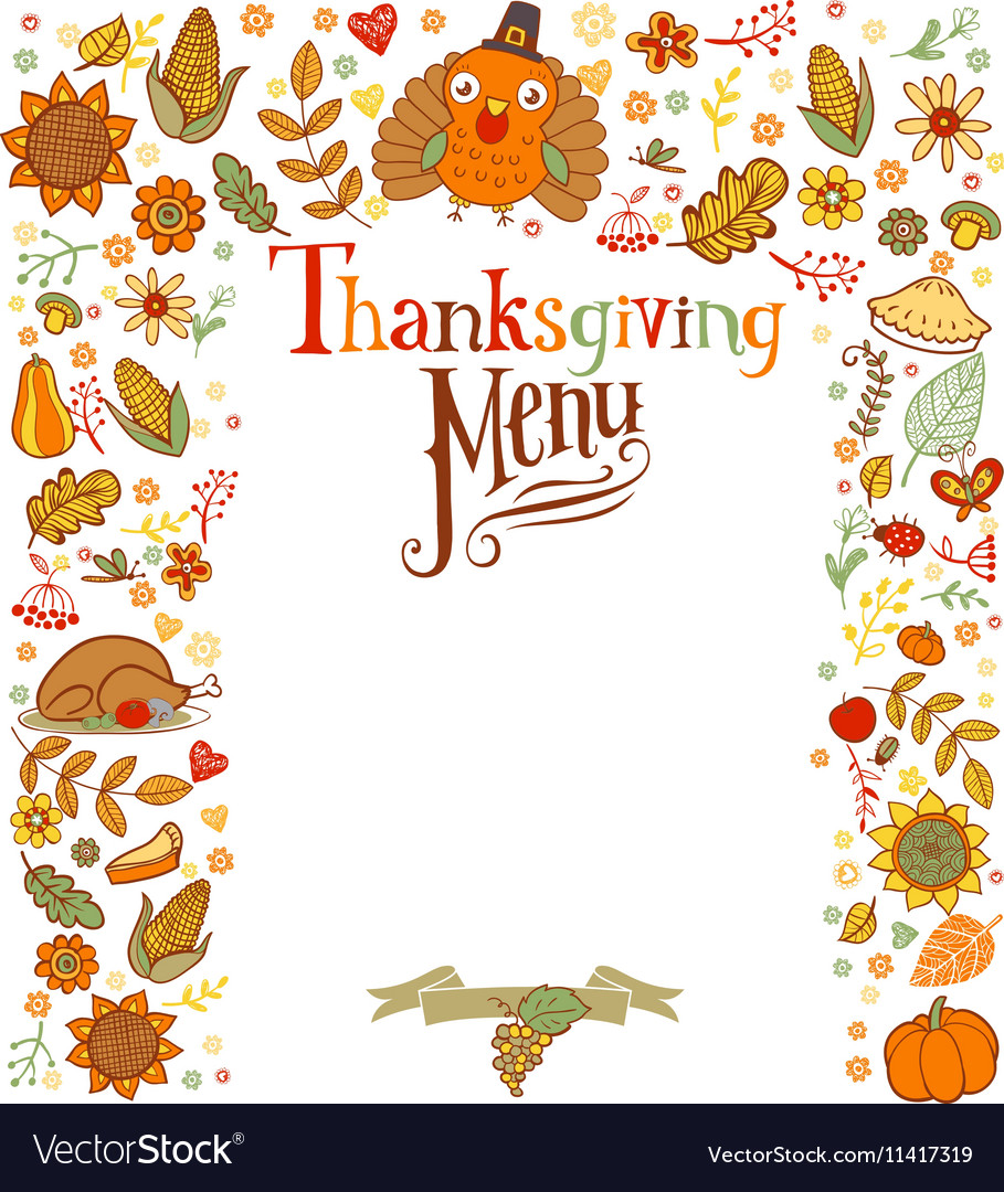 Thanksgiving menu card.