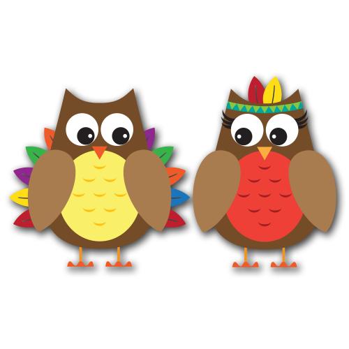 Thanksgiving Owls Clip Art SVG.