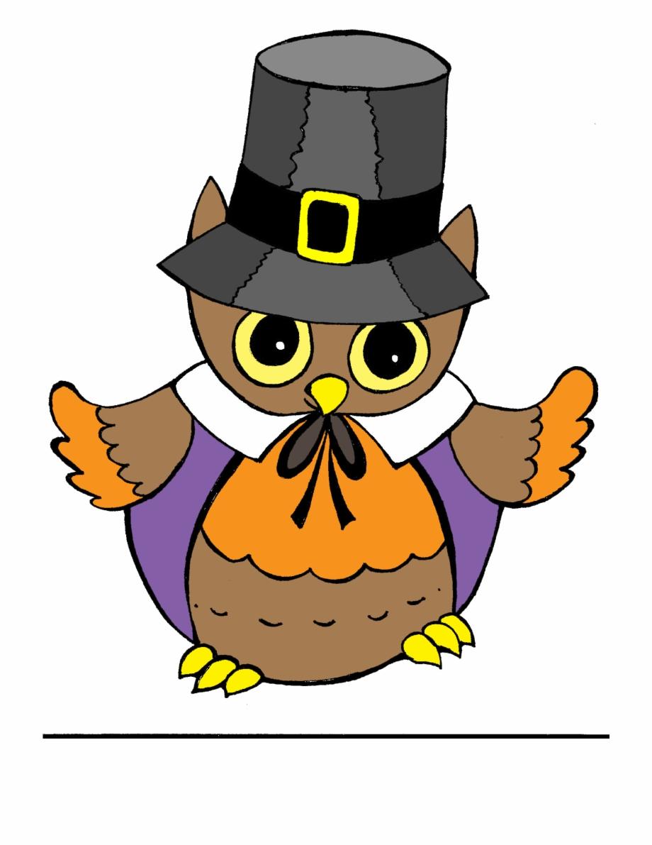 Pilgrim Owl Thanksgiving Clipart.