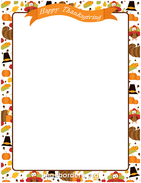 Printable Happy Thanksgiving border. Use the border in Microsoft.