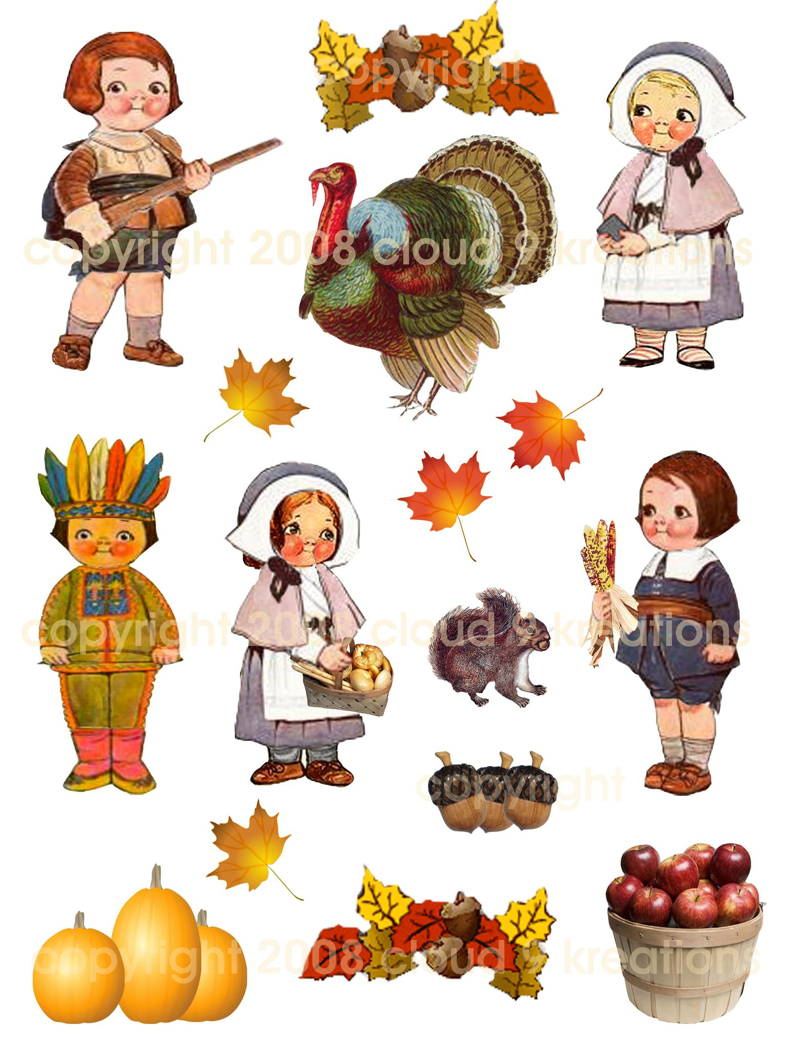 Thanksgiving Dolly Dingle Digital Collage Sheet.