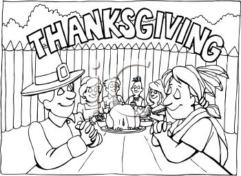 thanksgiving table clipart black and white 20 free ...