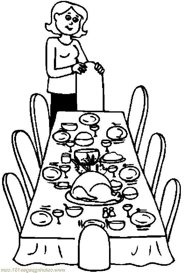 Thanksgiving Dinner Table Clipart Black And White.