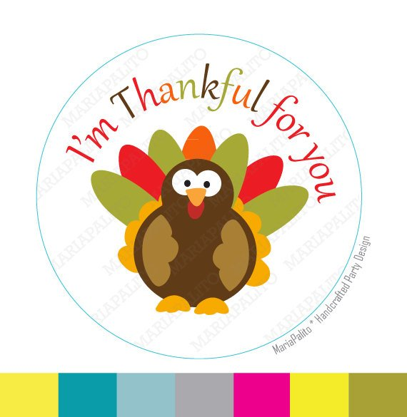 Thanksgiving Stickers, I am Thankful for you, Turkey.