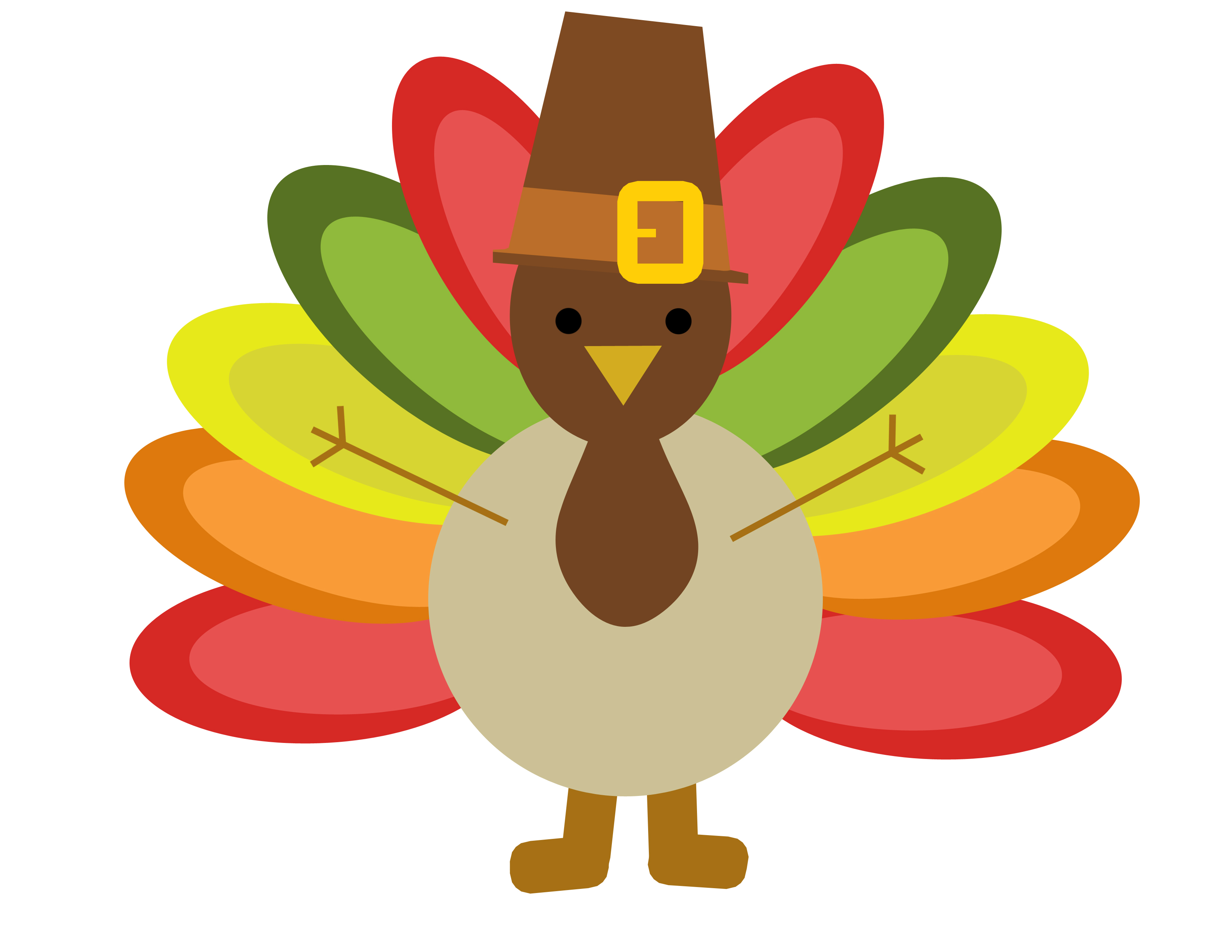 turkey clipart cartoon color feathers hat thanksgiving.
