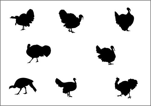 Thanksgiving Turkey Silhouette Vector Illustration.