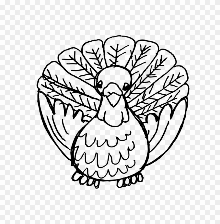 Drawing Turkey Black And White Vector.