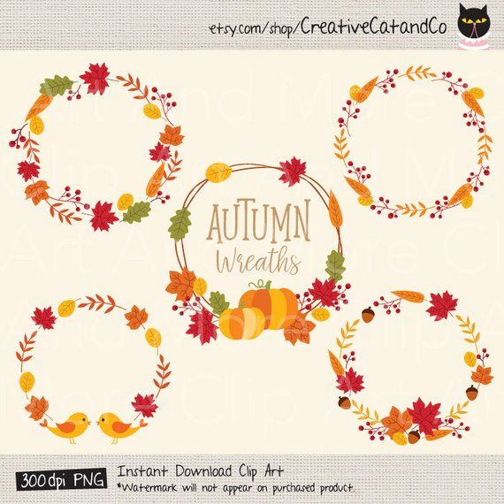 Fall Wreath Clipart Autumn Wreath Fall Leaves Clipart Clip.