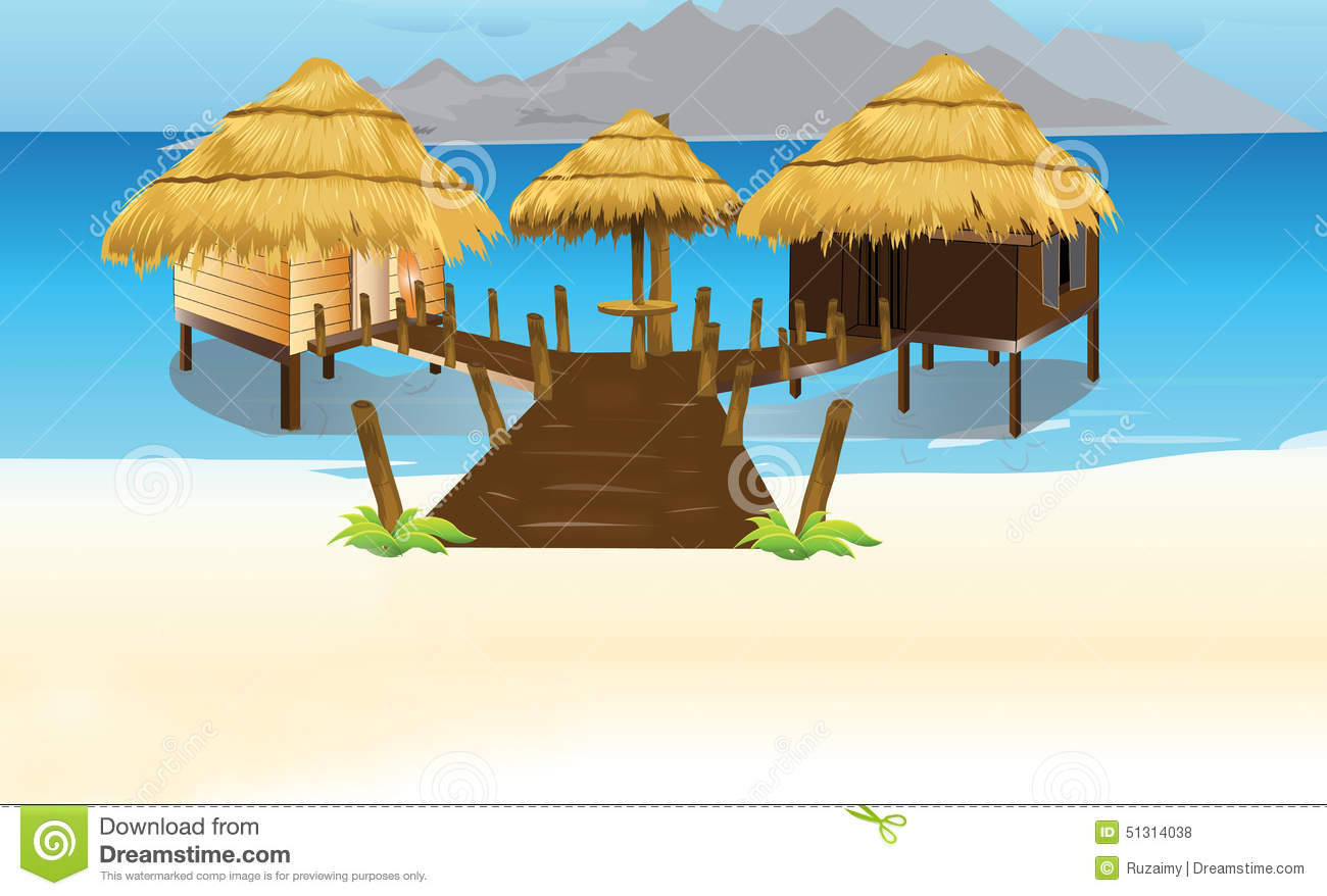 The Bamboo Thatch Roof House Stock Illustration.