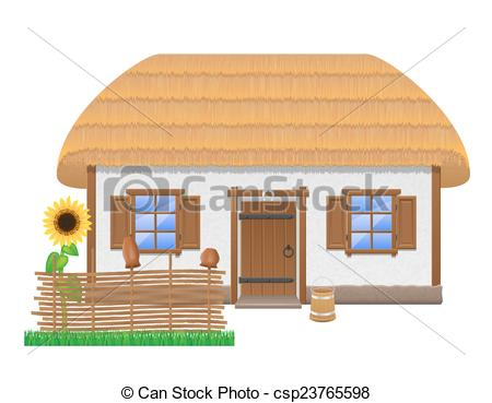 EPS Vectors of ancient farmhouse with a thatched roof vector.