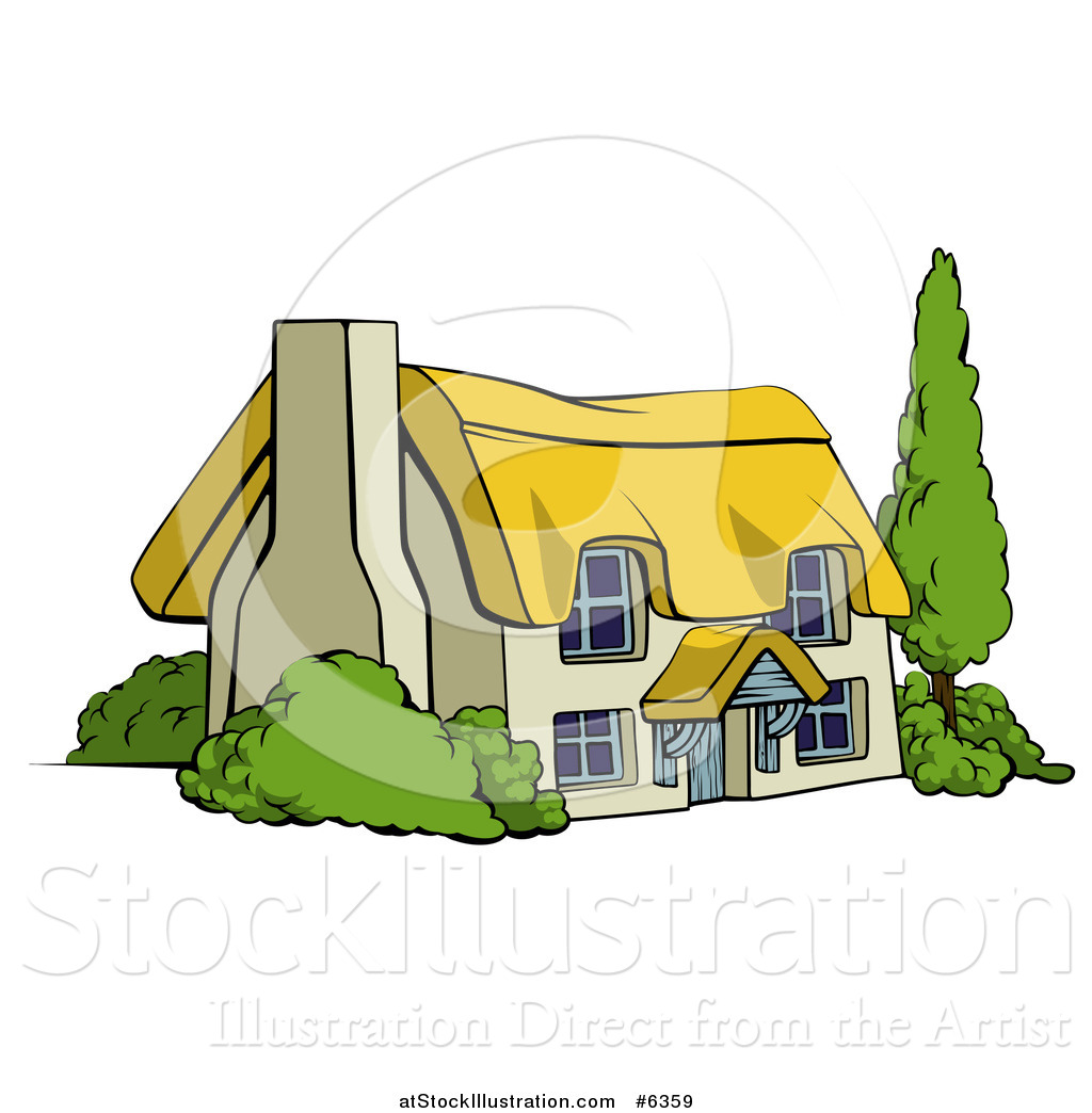 Vector Illustration of a Cute Thatched Roof Cottage Farm House by.