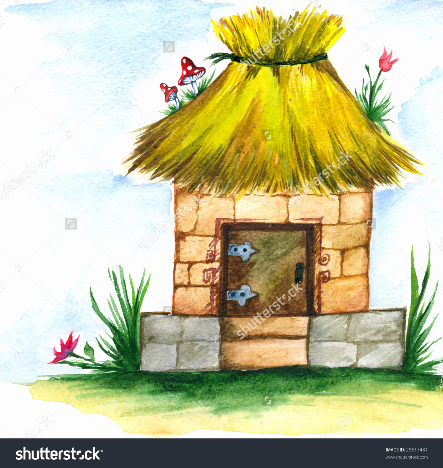 Drawing Small Home Made Brick Thatched Stock Illustration 28617481.