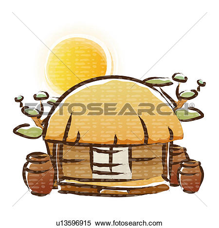 Clipart of icon, jar, sun, korean architecture, tree, thatched.