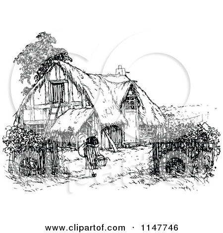 Clipart of a Retro Vintage Black and White Woman and Thatched.