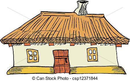 Thatch house clipart.