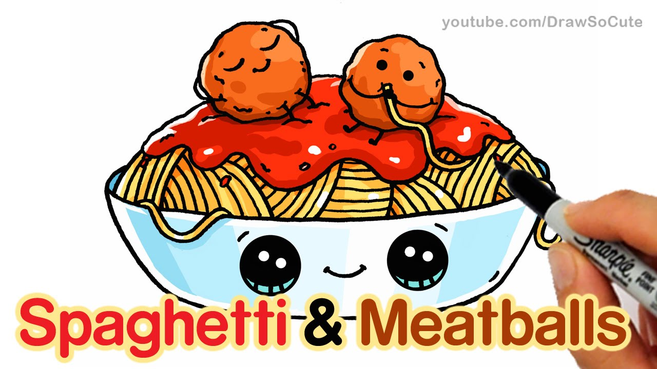 How to Draw Spaghetti and Meatballs step by step Easy.