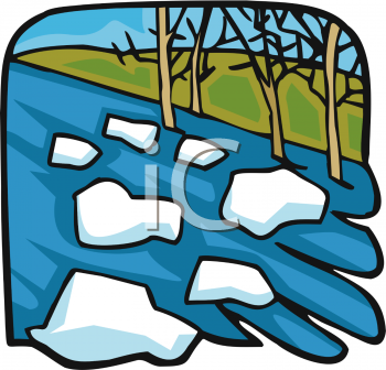 Royalty Free Clipart Image: Ice Floes in a River.
