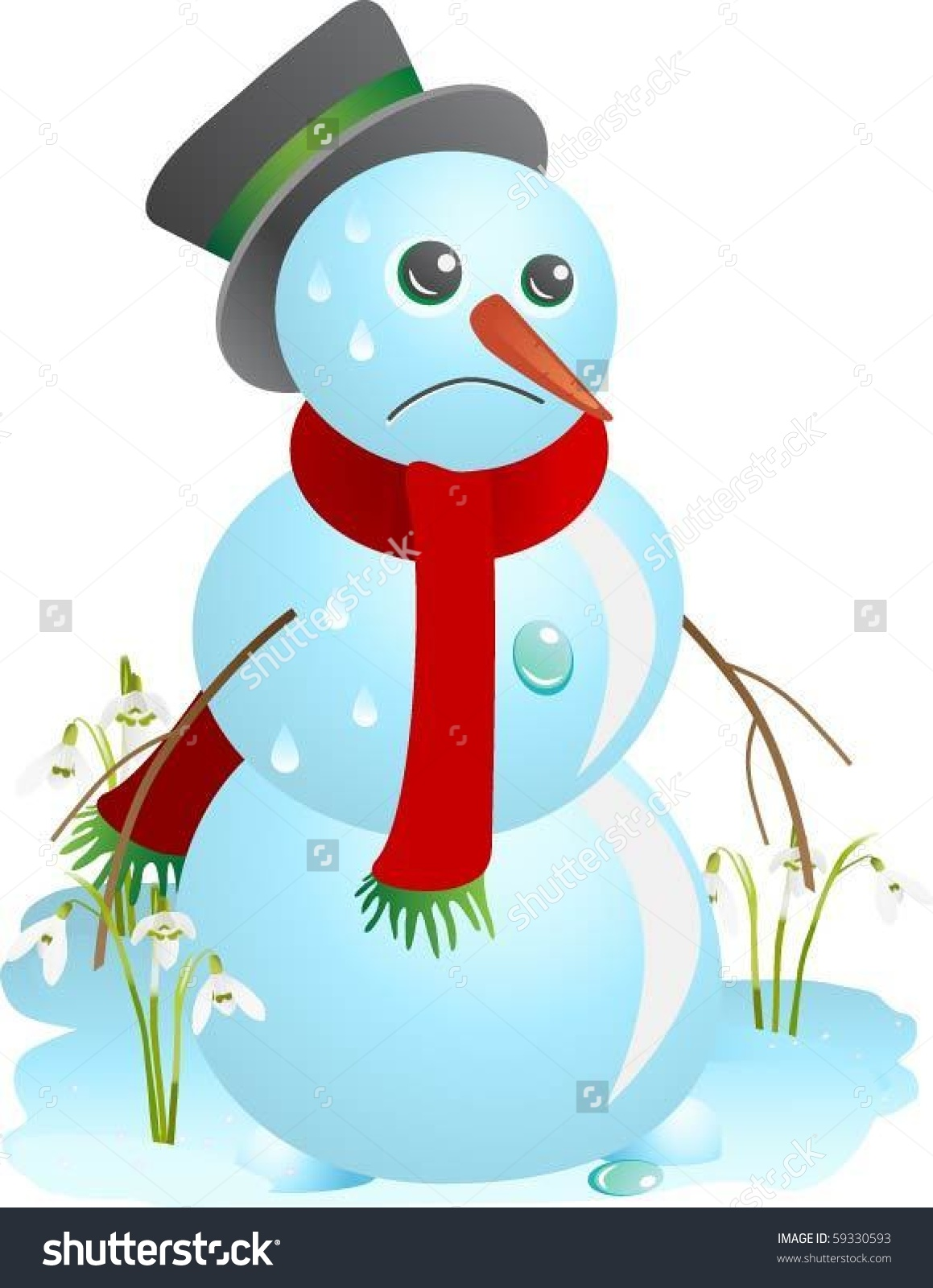 Sad Snowman Melting Spring Vector Illustration Stock Vector.