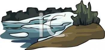 Royalty Free Clip Art Image: Snow Thawing on a Riverbank.