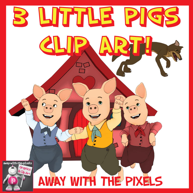 Three Little Pigs Story Time Clip Art.