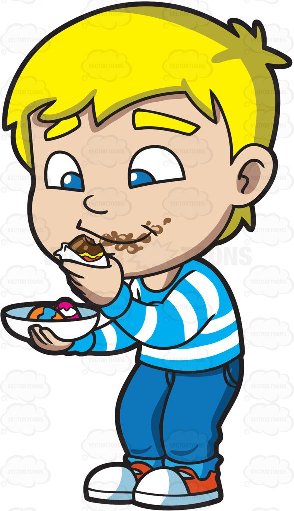 Kid Eating Chocolate Clipart.
