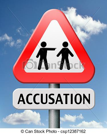 Stock Illustration of accusation false or real by pointing finger.