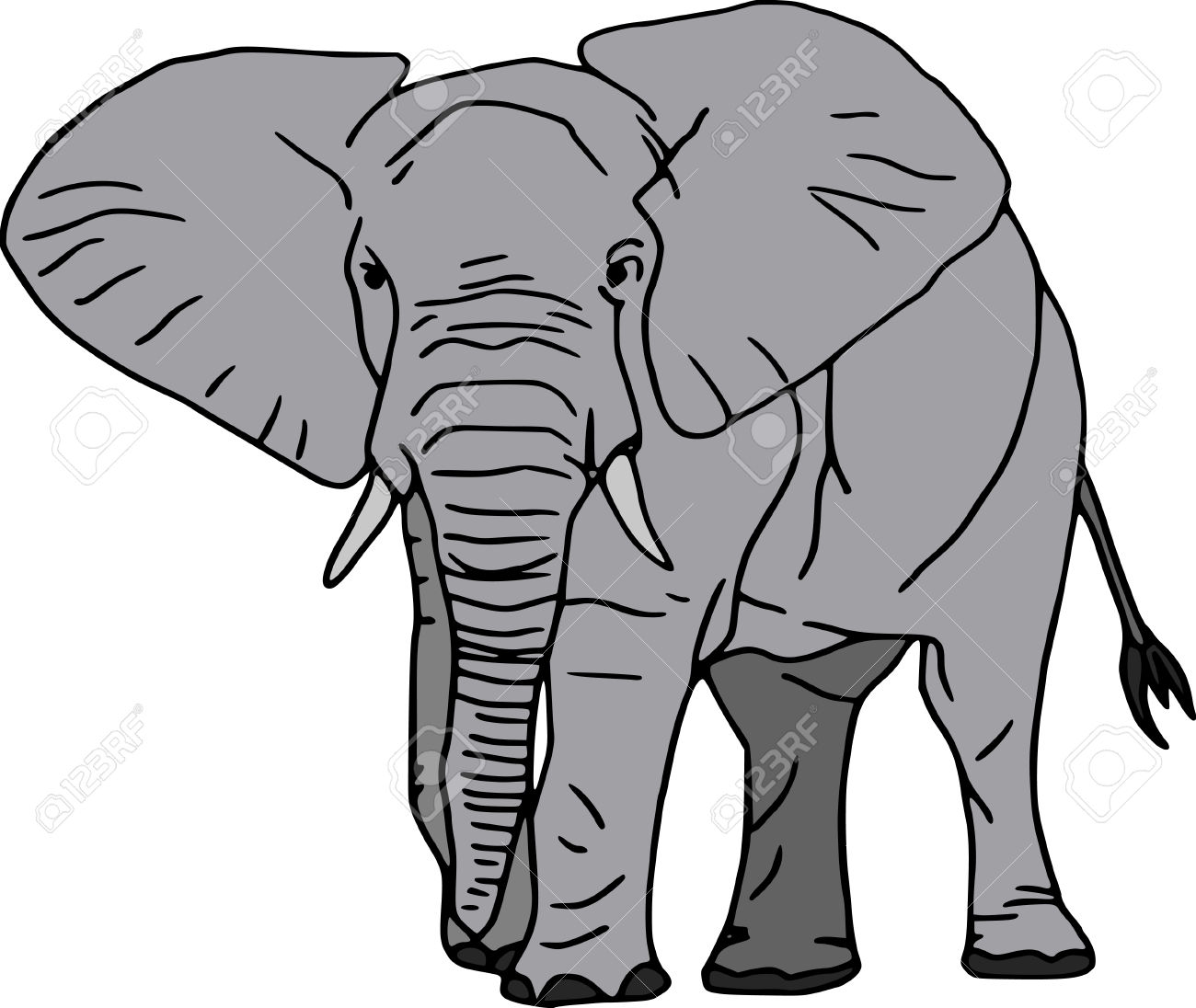 African elephant clipart black and white.