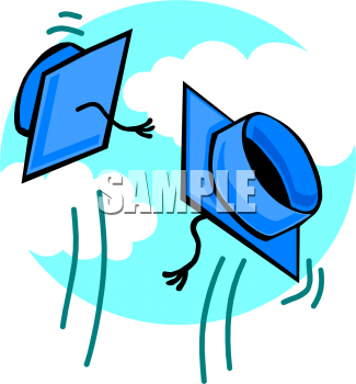 Clipart Picture of Two Graduation Caps Being Thrown in the Air.