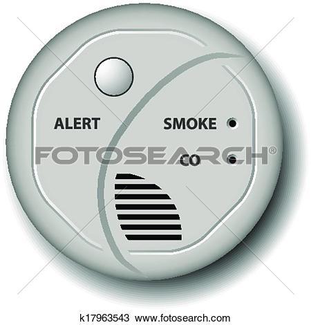 Clipart of vector fire smoke carbon monoxide detector alarm.