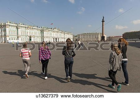 Stock Photograph of Tourists walking towards the Alexander Column.