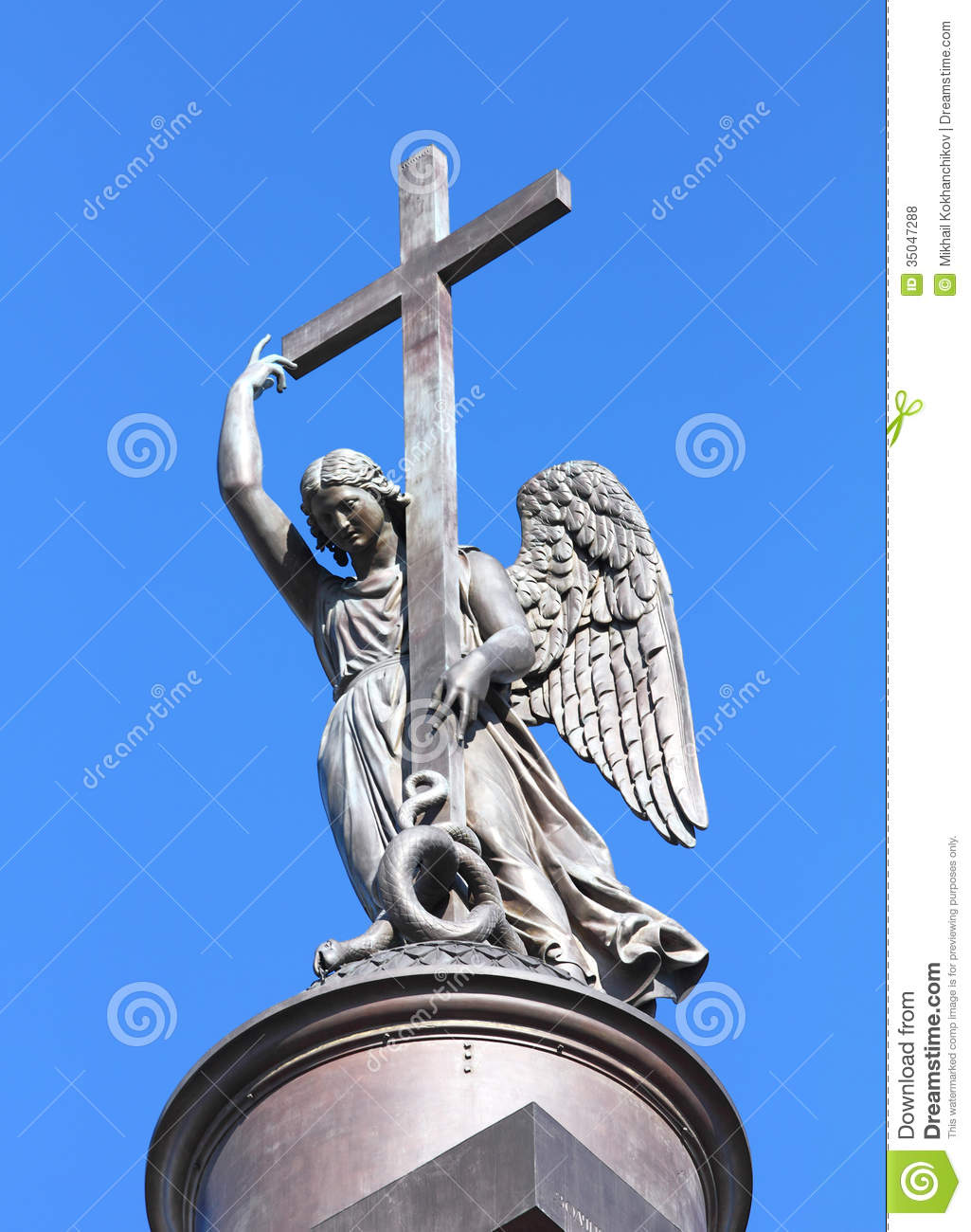 Angel Statue On Top Of Alexander Column.