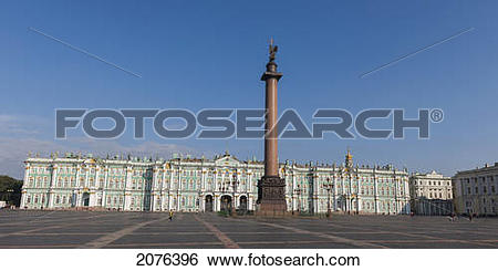 Stock Images of Alexander Column And Winter Palace; St. Petersburg.