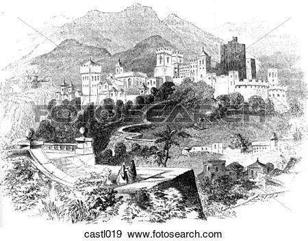 Stock Illustration of The Alhambra, Spain castl019.