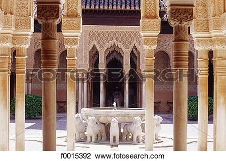 Stock Photo of Spain, Andalusia, Granada, the Alhambra, courtyard.