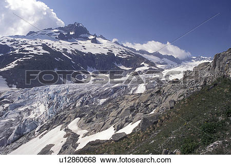 Pictures of glacier, Switzerland, Valais, Alps, Belvedere, Rhone.