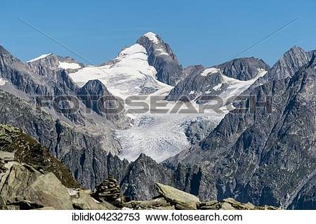Stock Photo of Finsteraarhorn summit, 4274m, with glacier seen.