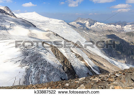 Stock Photo of Mountain glacier panorama view with summit.