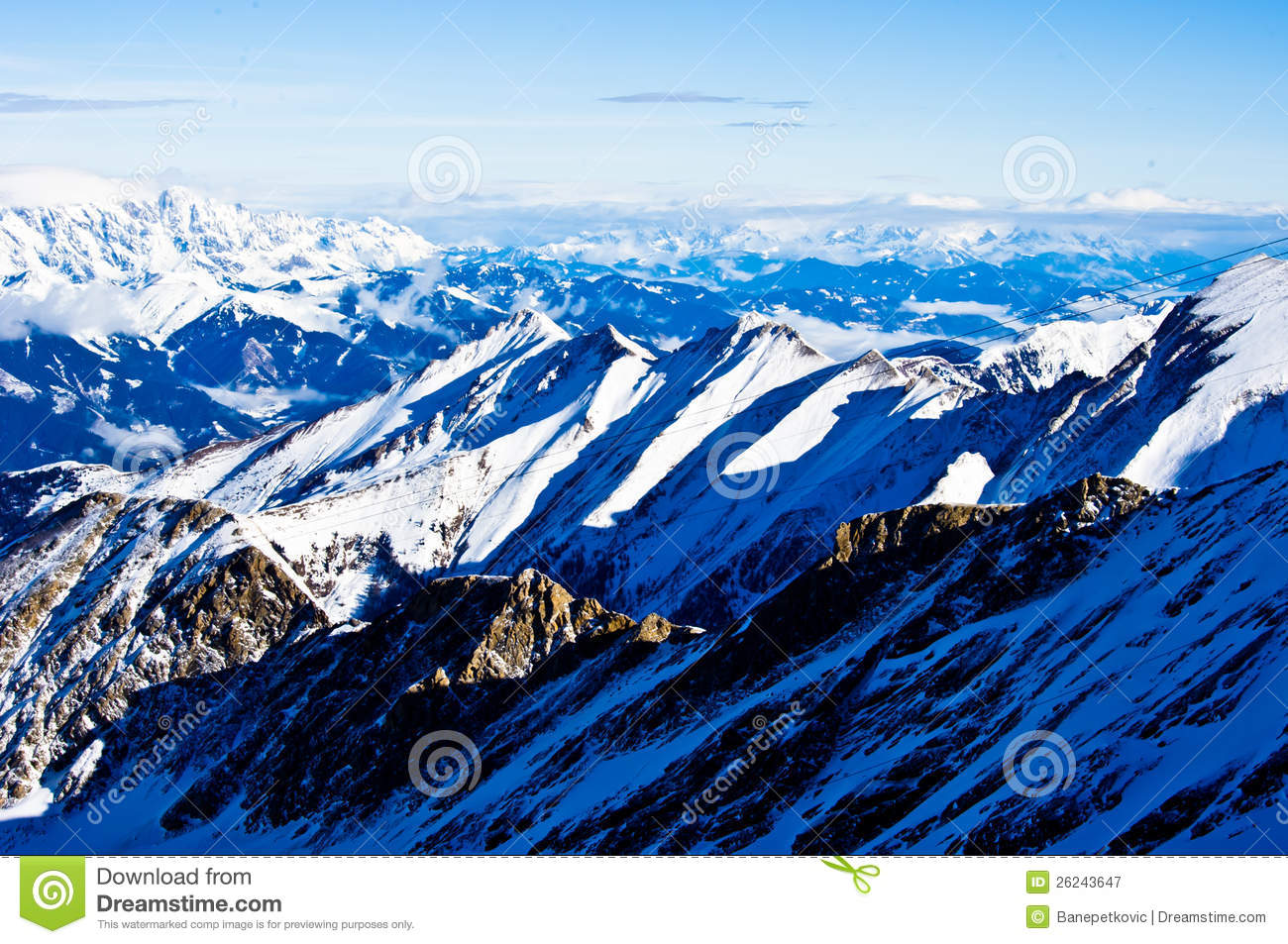 A View Of The Alps From The Top Of A Glacier Royalty Free Stock.