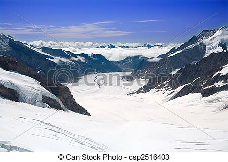Stock Photos of Aletsch Glacier in the Alps Switzerland.