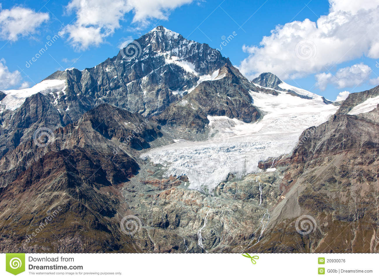 Alpine Glacier Melting In The Swiss Alps Royalty Free Stock Image.